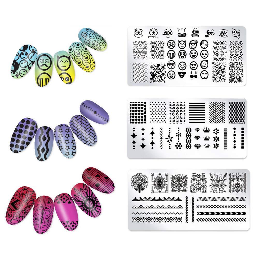 Trifycore Plantilla de manicura, uñas cubierta belleza caliente cubierta de belleza esmalte sello oval plantilla de tatuaje utensilios de decoración (3)