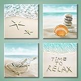 Seashore Artwork Painting Wall Art: Drift Bottle & Seashells on The Beach Pictures Canvas Print for Bathroom (12'' x 12…