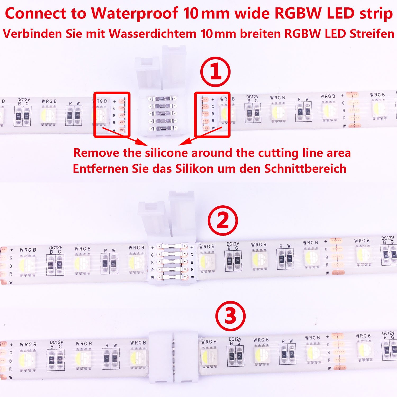 20pcs LitaElek 5 pines LED Strip Conector 5 conductores de banda de LED a tira de adaptador Conector de cinta LED sin soldadura para 10mm de ancho SMD 5050 RGBW RGBWW LED cuerda luces LED tiras