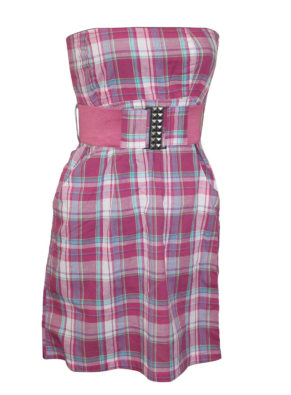 Freshmade Sommer Bandeau Kleid + Gürtel Minikleid Strandkleid trägerlos lila