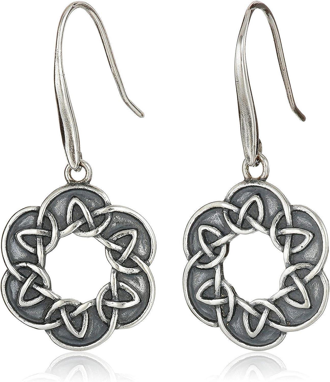 Oxidized 925 Sterling Silver Celtic Knot Drop Earrings