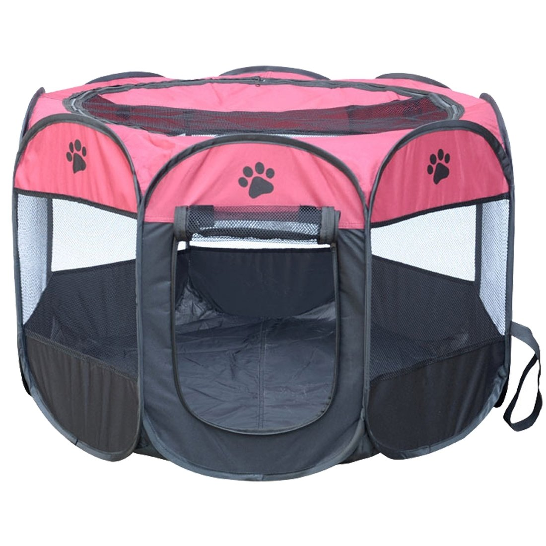 Magenta Yajie-pet, Fashion Oxford Cloth Waterproof Dog Tent Foldable Octagonal Outdoor Pet Fence, M, Size  91 x 91 x 58cm ( color   Magenta )