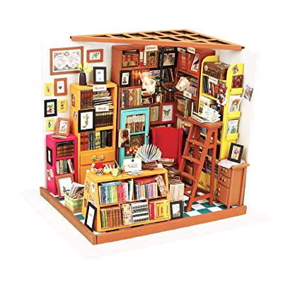 Hands Craft, DIY Miniature Dollhouse Kit with LED – Build Your Own Wooden Miniature Dollhouse Craft Kit for Adults and Teens | Makes for Women | (DG102 Sam's Study Library): Toys & Games [5Bkhe0306081]