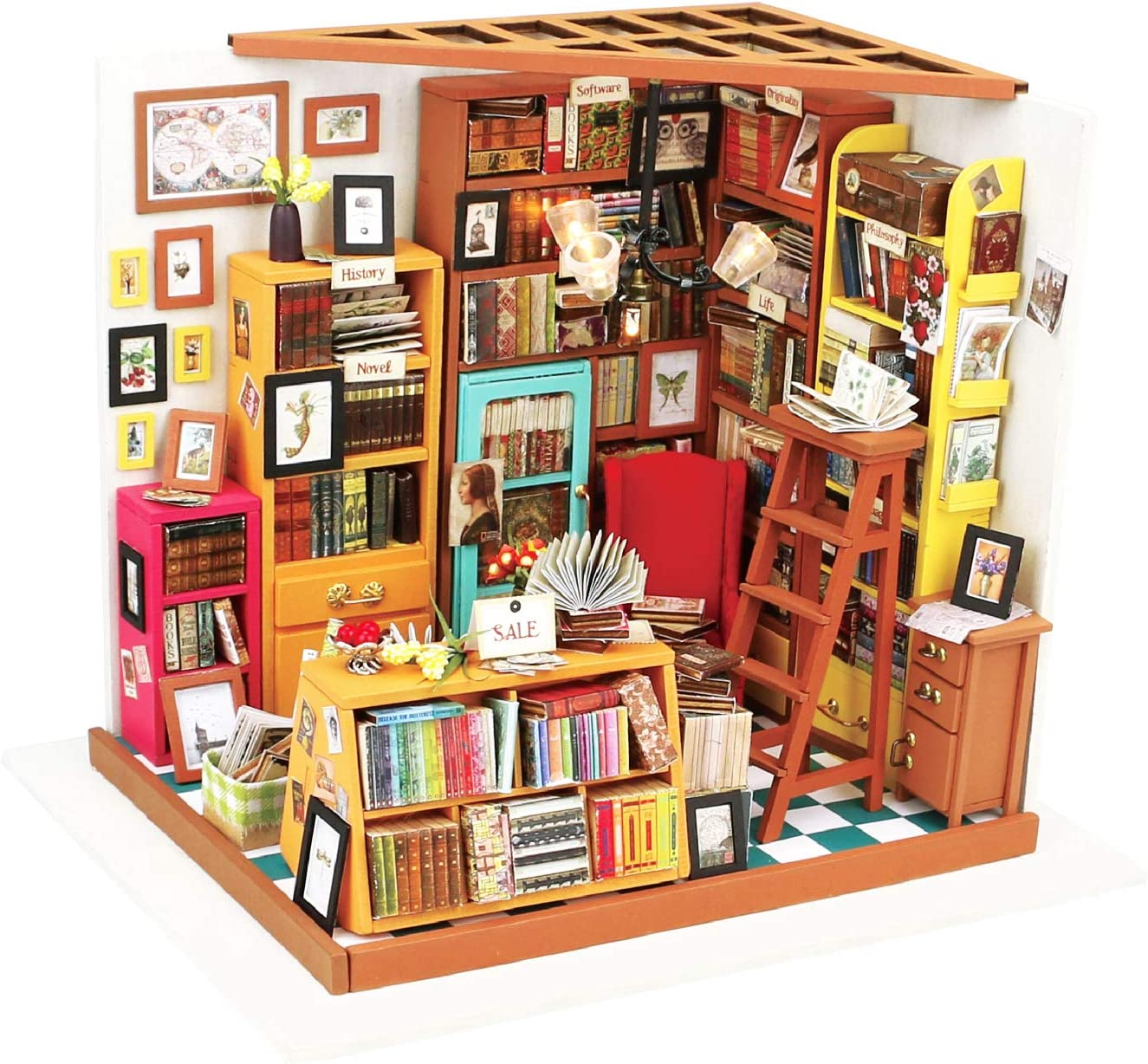 Hands Craft, DIY Miniature Dollhouse Kit with LED – Build Your Own Wooden Miniature Dollhouse Craft Kit for Adults and Teens | Makes for Women | (DG102 Sam's Study Library)