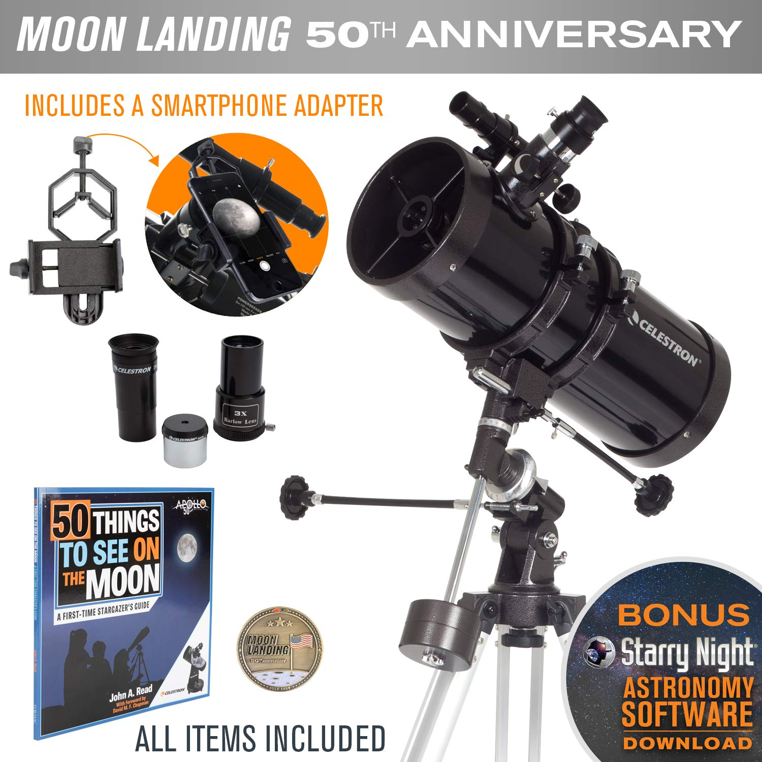Celestron PowerSeeker 127EQ Newtonian Reflector Telescope with Smartphone Adapter - Limited Edition Apollo 11 50th Anniversary Bundle with Commemorative Coin and Book by Celestron