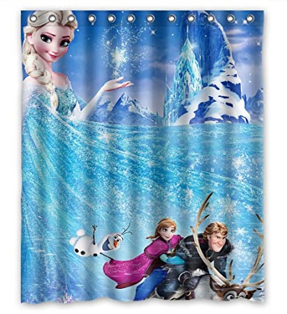 Custom Design Durable Frozen Cartoon Movie Elsa Anna Olaf Kristoff Sven Shower Curtains W