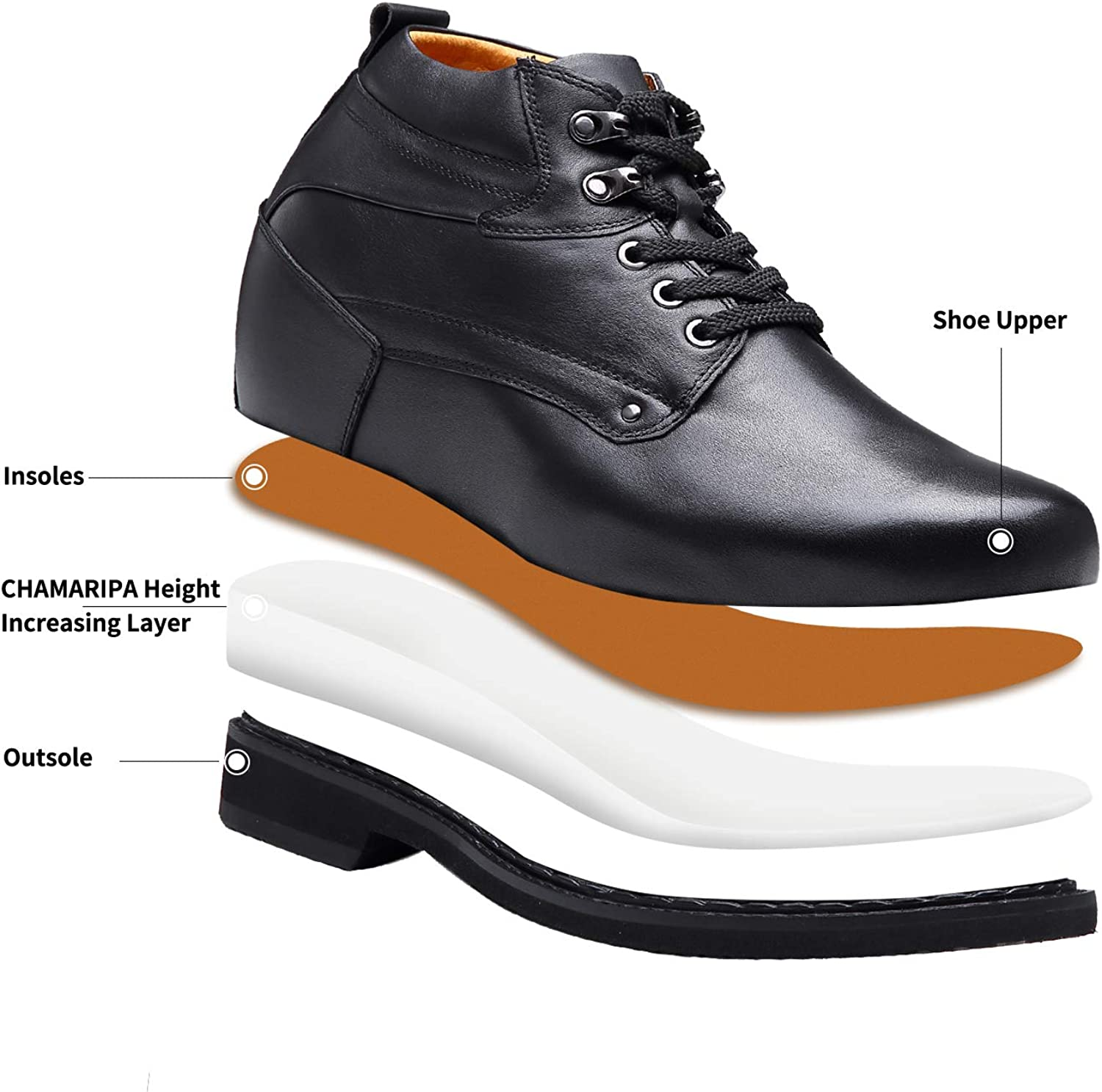 CHAMARIPA Men/'s Height Increasing Elevator Shoes Leather Boots Invisible Elevated 5.12 inch Taller Brown Black X4101