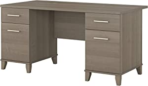 Bush Furniture Somerset Office Desk with Drawers, 60W, Ash Gray