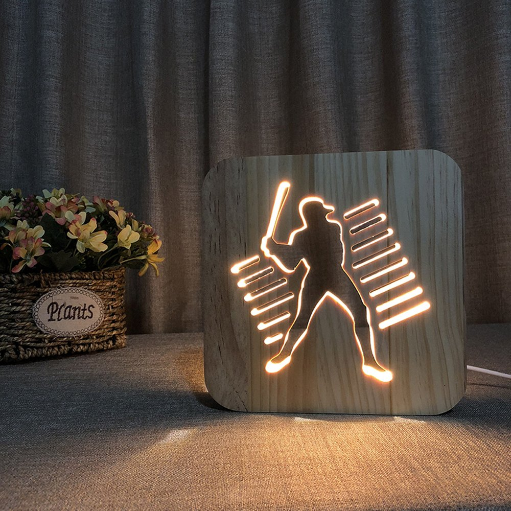 Night Light for Kids Playing Baseball Wooden 3D Lamp Creative wooden lights 3D wood carving pattern LED Night Light for Desk Table with USB Powered Home Decoration Best Gift for Kids