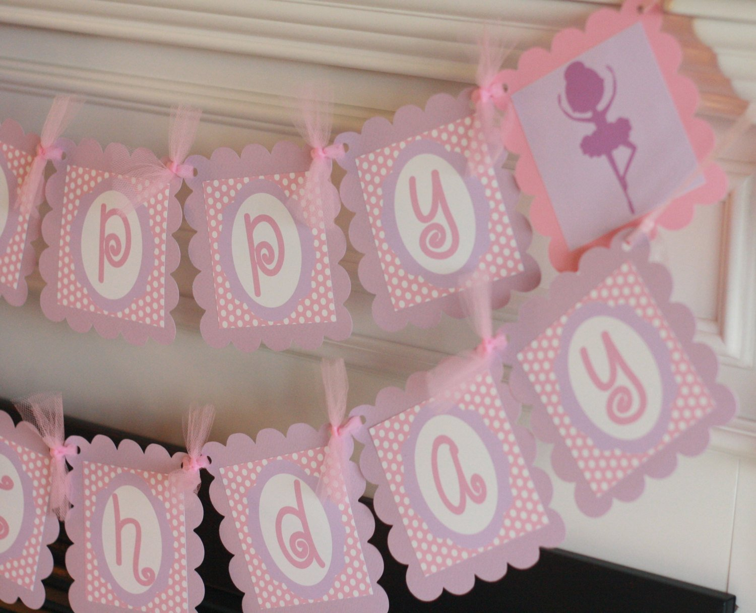 Happy Birthday Girl Pink Purple Polka Dot Ballet Ballerina Dance Dancer Silhouette - Party Pack Specials Matching Items Available - Signs, Favor Tags, Cupcake Toppers etc.