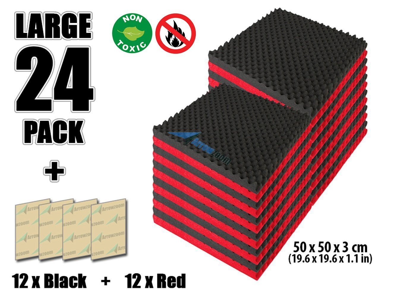 Convoluted Foam Soundproofing Egg Crate Acoustic Foam Studio Absorbing Tiles Pads Wall Panels RED/&Black 25 X 25 X 3 cm Arrowzoom New 24 Pack of Red /& Black