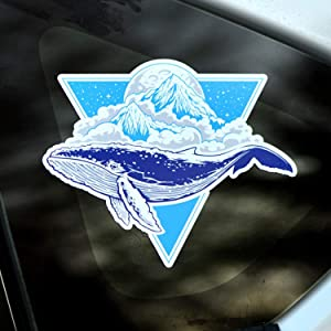 Whale Decal Humpback Sticker, Blue Ocean Sea Decal, Vinyl Graphic