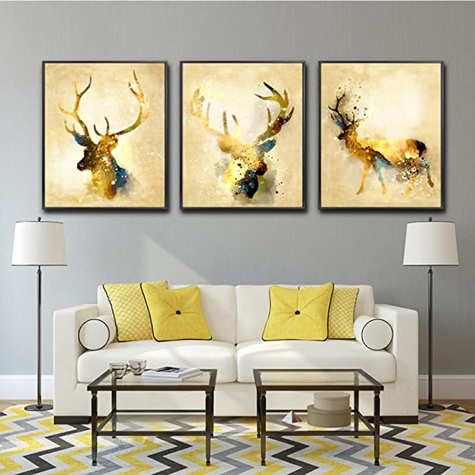 LA VIE 3 Panel Wall Art Golden Deers Stag with Long Antler Pictures ...