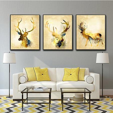 LA VIE 3 Panel Wall Art Golden Deers Stag with Long Antler Pictures ...