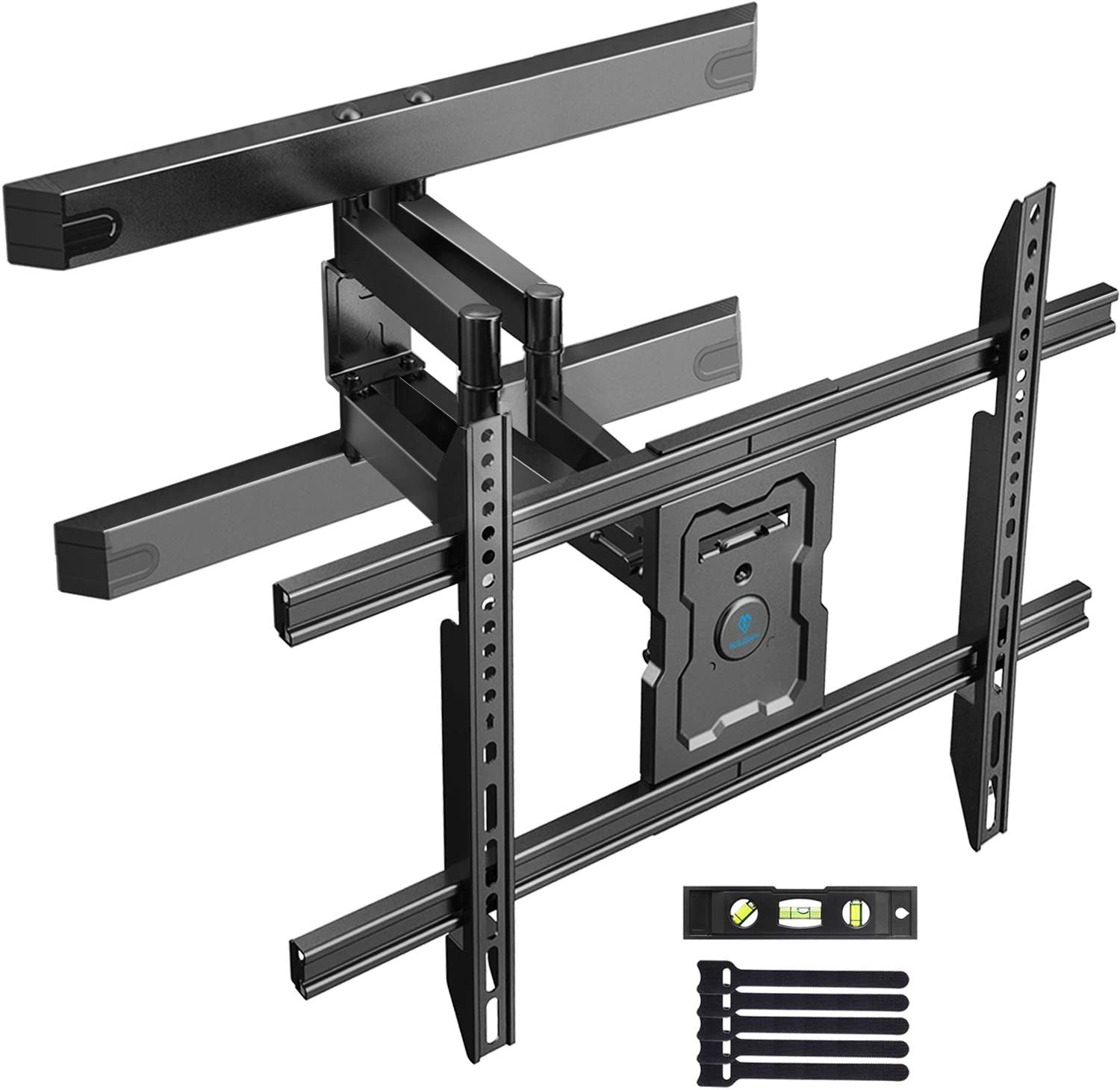 PERLESMITH Full Motion TV Wall Mount for 37-80 Inch Flat Curved TVs with Smooth Tilts Swivel & Extends - Dual Articulating Arms Wall Mount TV Bracket Supports TVs up to 132 lbs Max VESA 600x400
