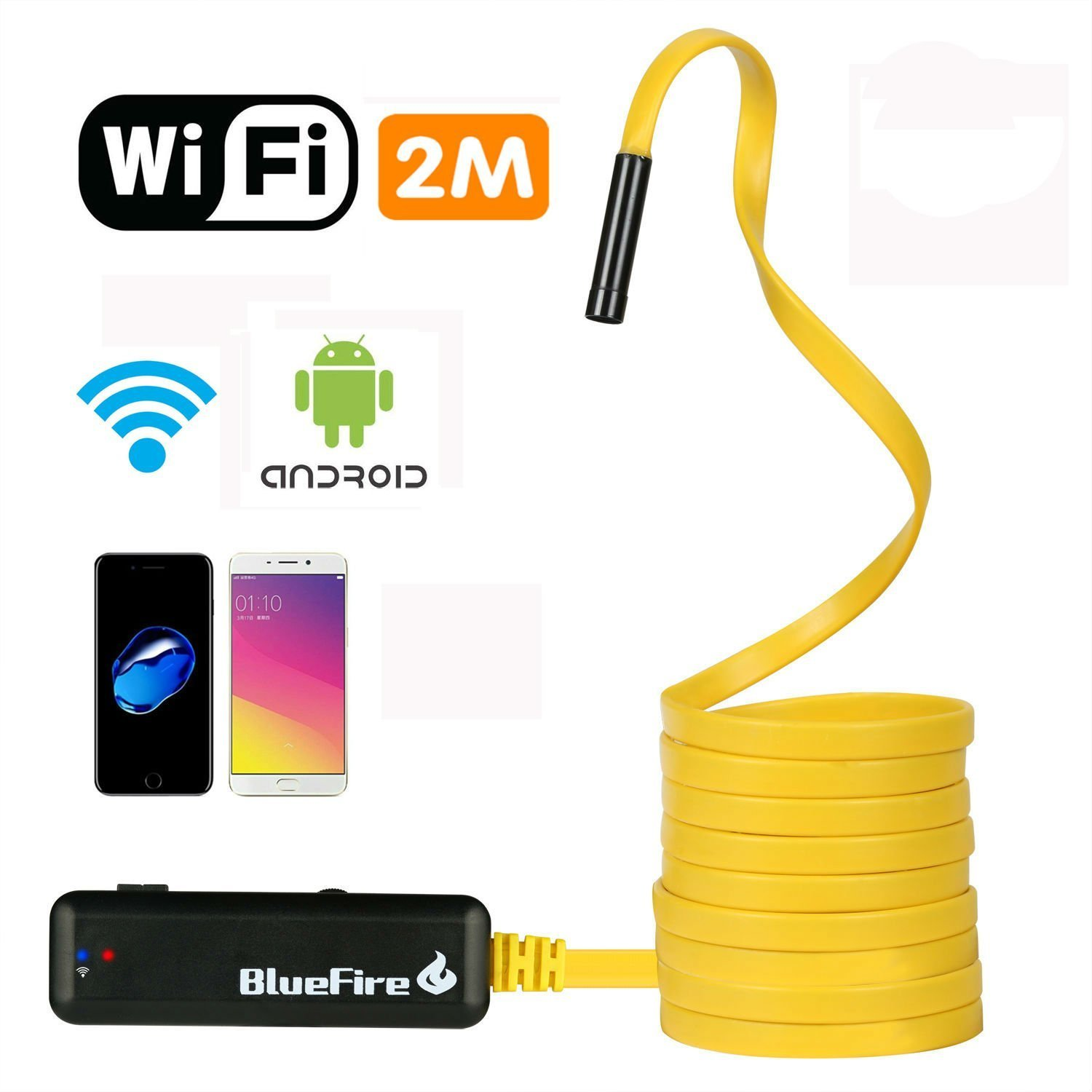 BlueFire Semi-rigid Flexible Wireless Endoscope IP67 Waterproof WiFi Borescope 2 MP HD Resolutions Inspection Camera Snake Camera for Android and iOS Smartphone, iPhone, Samsung, iPad, Tablet (6.6FT)