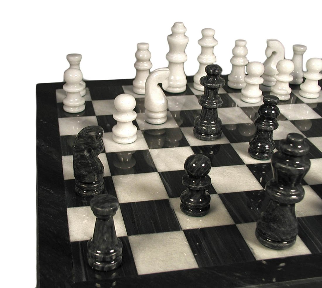 Marble Chess Set, Black Weiß by Worldwise Imports