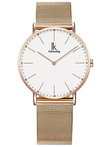 Alienwork IK Quarz Armbanduhr Zeitloses Design Uhr Damen Uhren Herren Ultra-flach Metall weiss rose gold U04916G-05