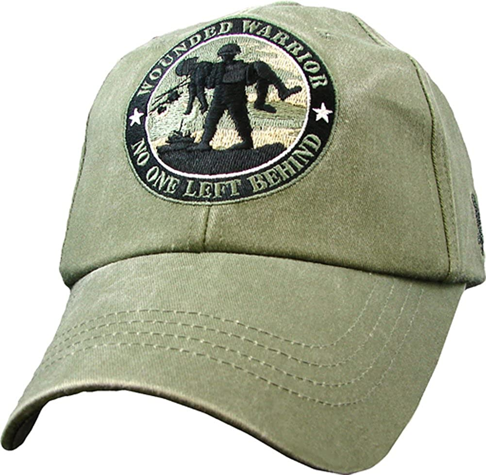 B007Y9TYZW USA Wounded Warrior No One Left Behind Embroidered Hat - Buckle Closure Cap, Olive Drab, Adjustable 71yHKoxcFZL