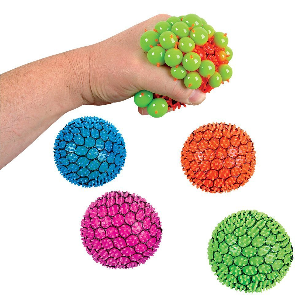 Newin Star 12er Pack Mesh Ball Spielzeug Quetschball Anti-Stress-Bä lle fü r Kinder und Erwachsene, Zufä llige Farbe