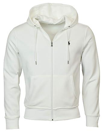 Men's White Hoodie Ralph Polo Medium Lauren Knit Double Full Zip gIYbfyv76m