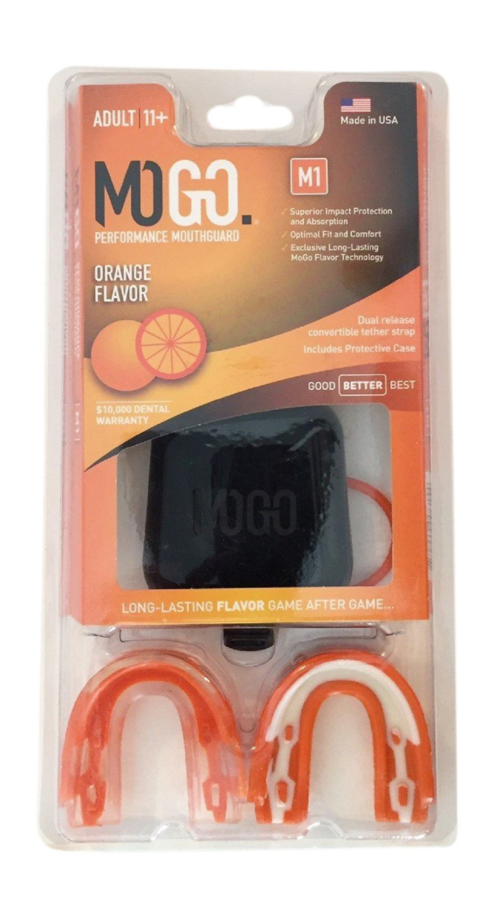 MOGO. Flavored 2 Pack Mouth Guards - Adult Sports Mouthguard for Ages 11 and Up - Mouthpiece for MMA, Football and Lacrosse - Tether Strap, Fitting Instructions and Carry Case (Orange)
