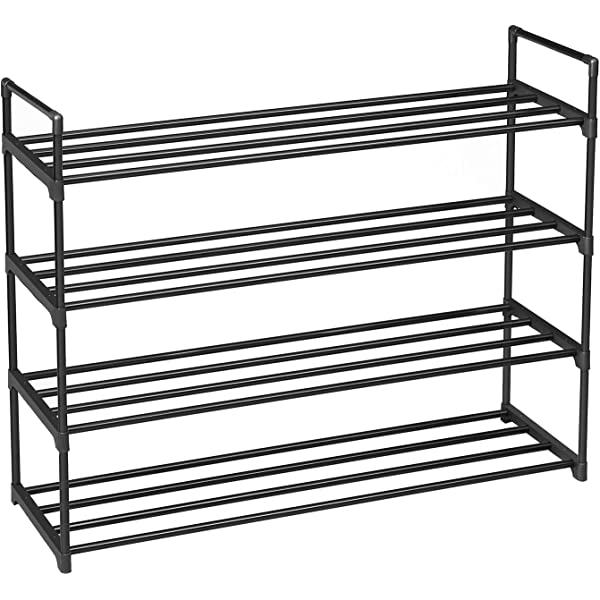 92 x 30 x 73 cm SONGMICS 4-Tier Shoe Rack Metal Storage Shelves Hold up to 20 Pairs of Shoes Hallway and Cloakroom Entryway Black LSA14BK for Living Room