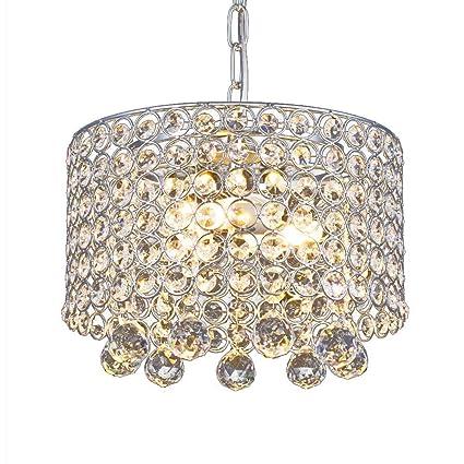 Lámpara de araña de cristal moderna, 3 bombillas Lámpara de techo empotrada, Diámetro de pasillo, AFSEMOS