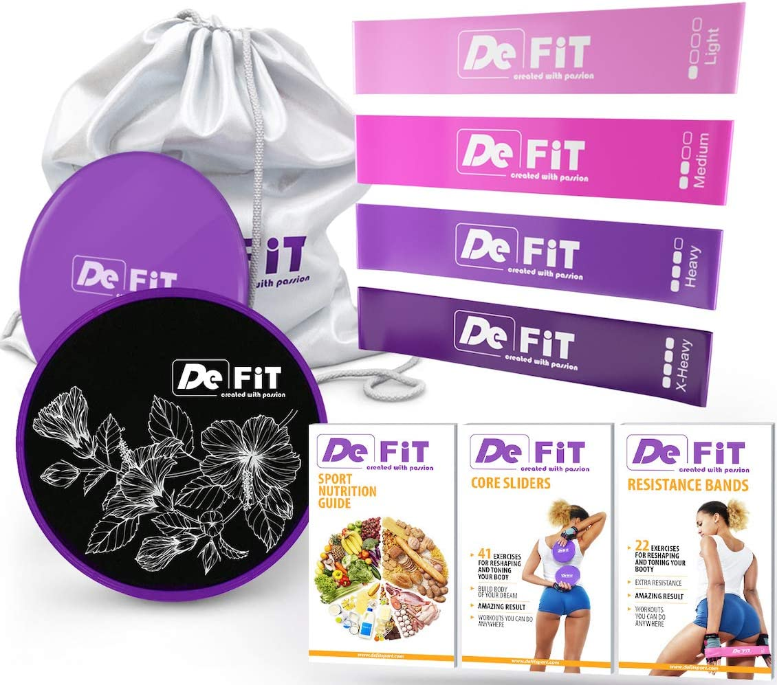 DeFit Core Sliders and Resistance Bands for Legs and Butt – Booty Bands Sliders Fitness – Resistance Loops and Sliders Set with 4 Workout Bands and Exercise Sliders, Nutrition Workout eBooks App