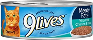 9Lives Meaty Paté With Real Ocean Whitefish Wet Cat Food, 4/5.5-Ounce Cans (Pack Of 6)
