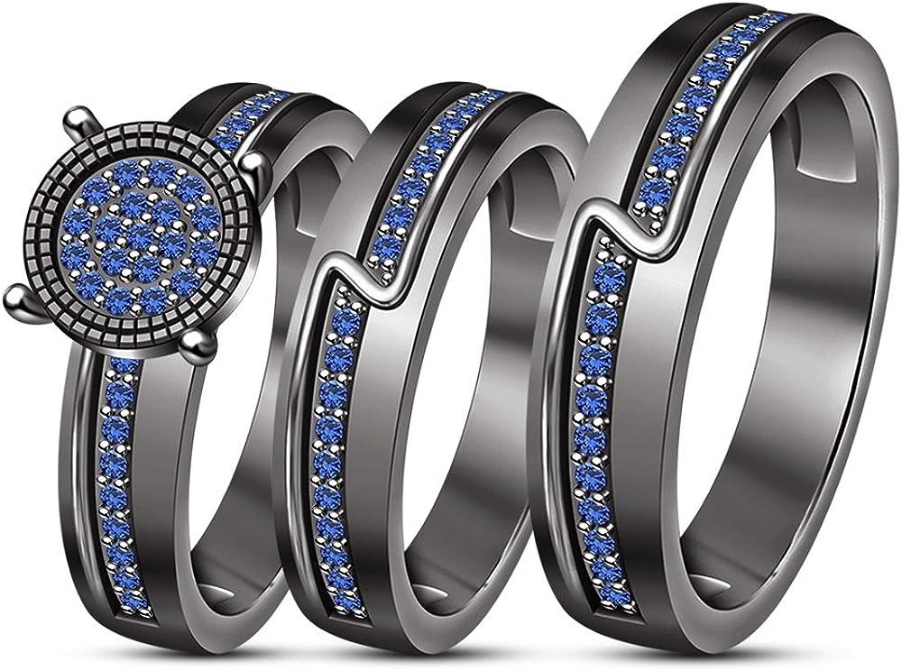Vorra Fashion Juego de 3 anillos para hombre y mujer, chapados en rodio, color negro