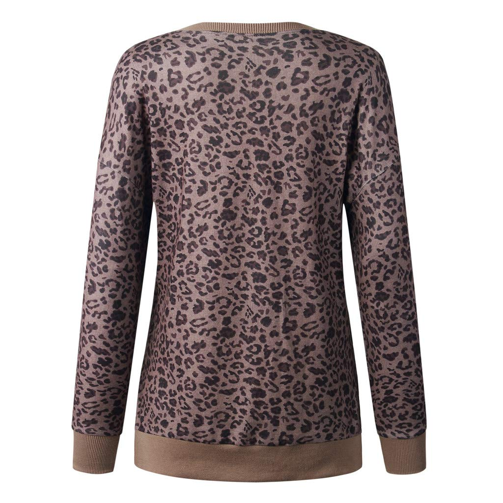 aihihe Long Sleeve Tops Tunic for Women Leopard Color Block Comfy Pullover Round Neck T Shirt Tops Sweatshirt