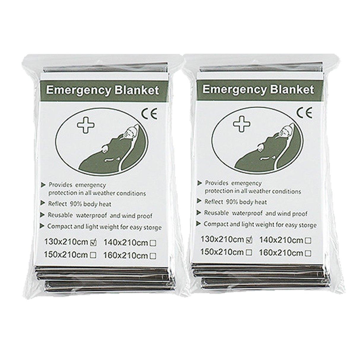 Binhai Mantas de Emergencia, Manta Té rmica, Manta de Emergencia, Mantas de Emergencia 52'x 83' (2-Paquetes) Manta Térmica Mantas de Emergencia 52x 83 (2-Paquetes) DHBJT