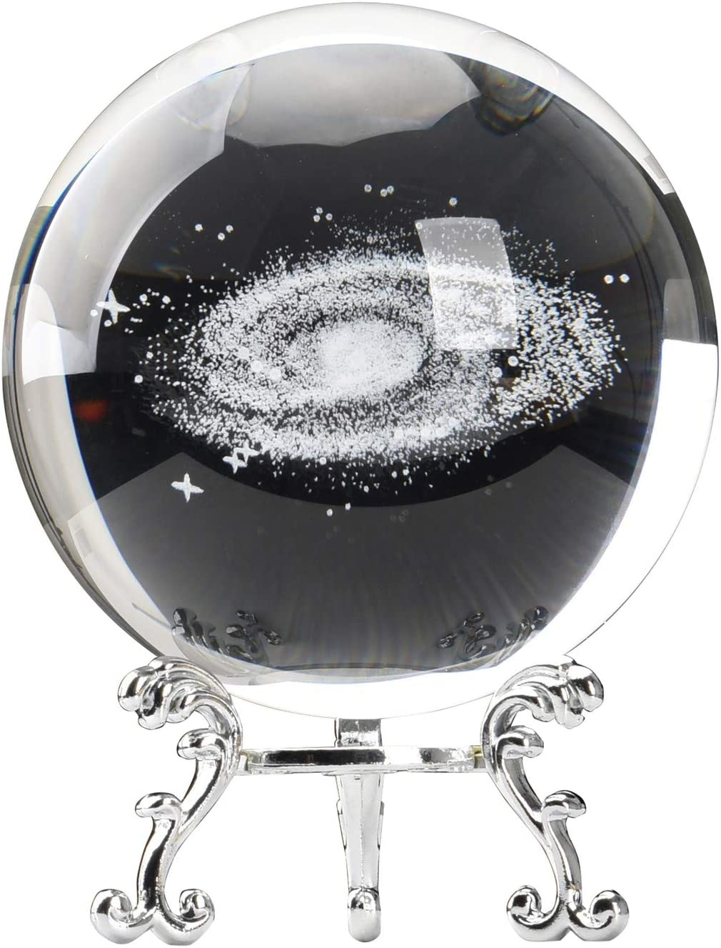 Aircee 3D Model of Galaxy Crystal Ball, Decorative Planets Glass Ball with A Stand, Great Gifts, Educational Toys, Home Office Decor, Solar System Sphere with Gift Box
