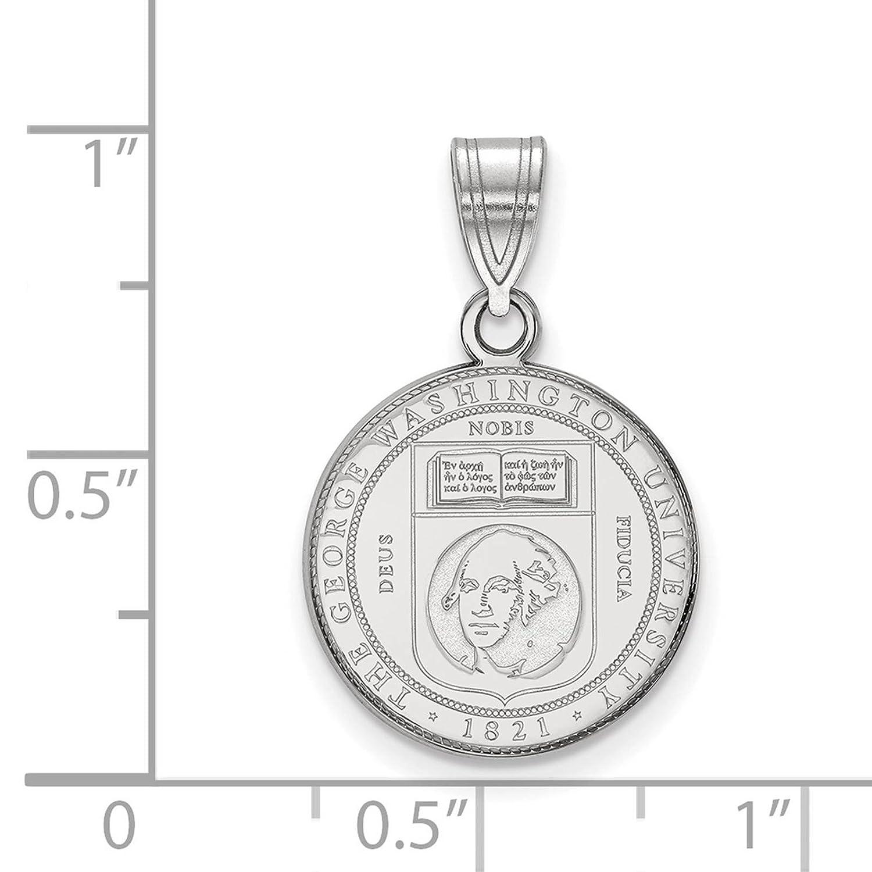 925 Sterling Silver Rhodium-plated Laser-cut The George Washington University Medium Crest Pendant