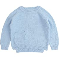 De feuilles Baby Girls Fluffy Crew Neck Jumpers Soft Warm Sweater Long Sleeve Solid Color Knitwear Pullover Outfit