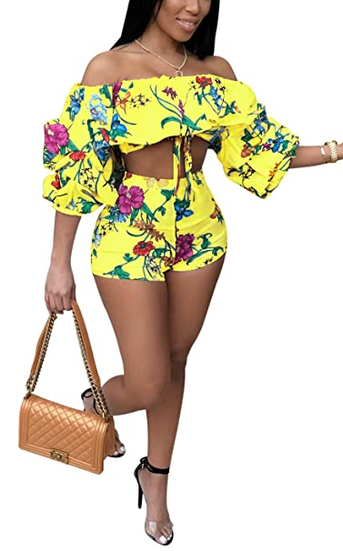 ac512d944f4b2 Amazon.com  Darceeneth Women Sexy Two Piece Romper Outfits Pull Sleeve  Floral Off Shoulder Crop Top Short Pants Set Yellow XL  Clothing