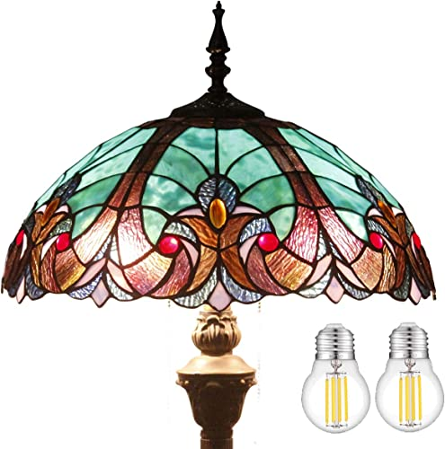 Tiffany Floor Lamp W16H64 Inch LED Bulb Included Green Stained Glass Liaison Style Shade 2E26 Antique Base S160G WERFACTORY Standing Reading Light Bedroom Table Living Room Bedroom Dresser Lover Gifts