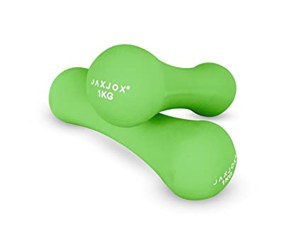 JAXJOX Unisex Recubrimiento de Neopreno – Mancuernas (3 kg, Verde