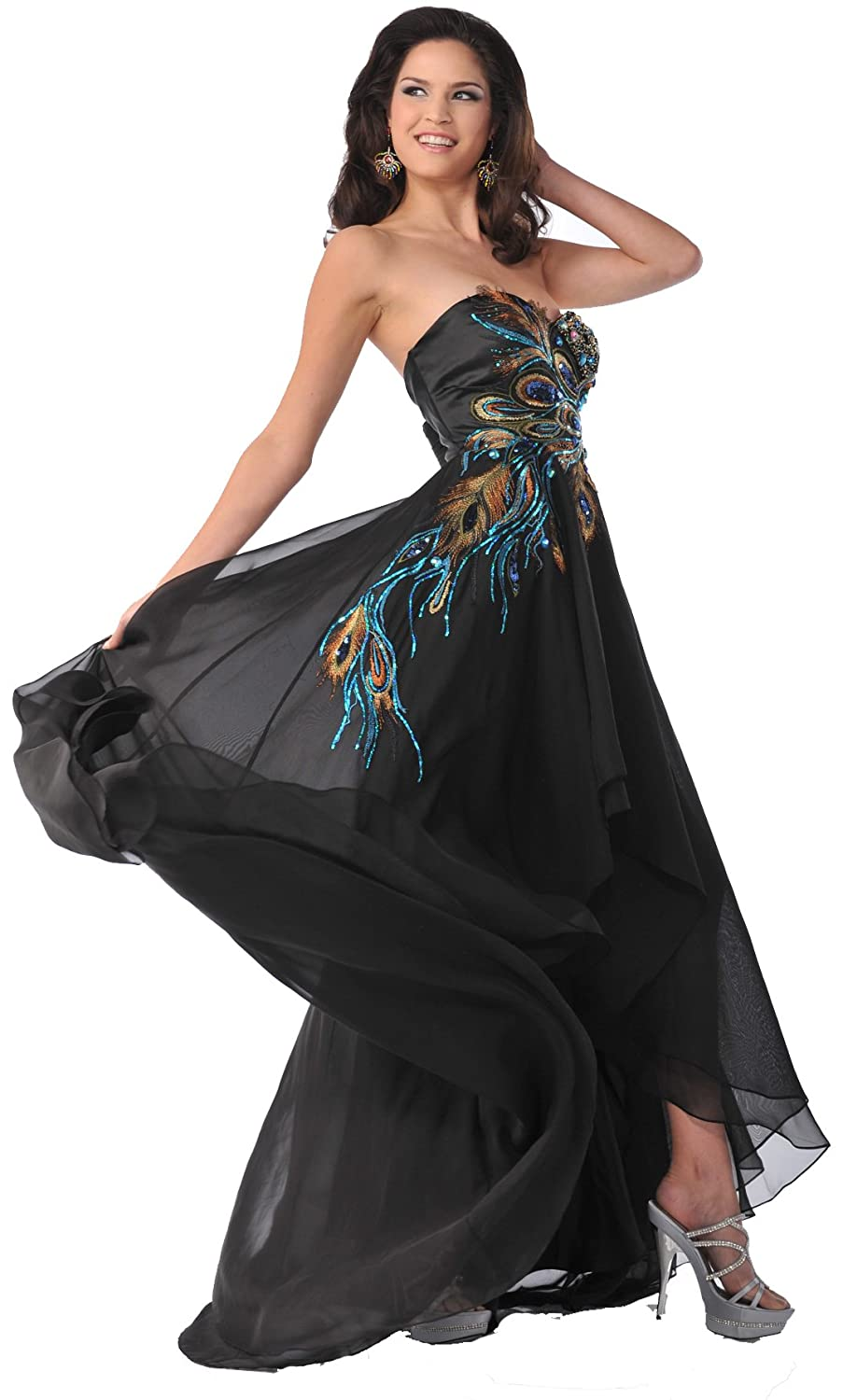 Amazon.com: Meier 5846 Womens Strapless Peacock Embroidery Chiffon Gown (18): Clothing