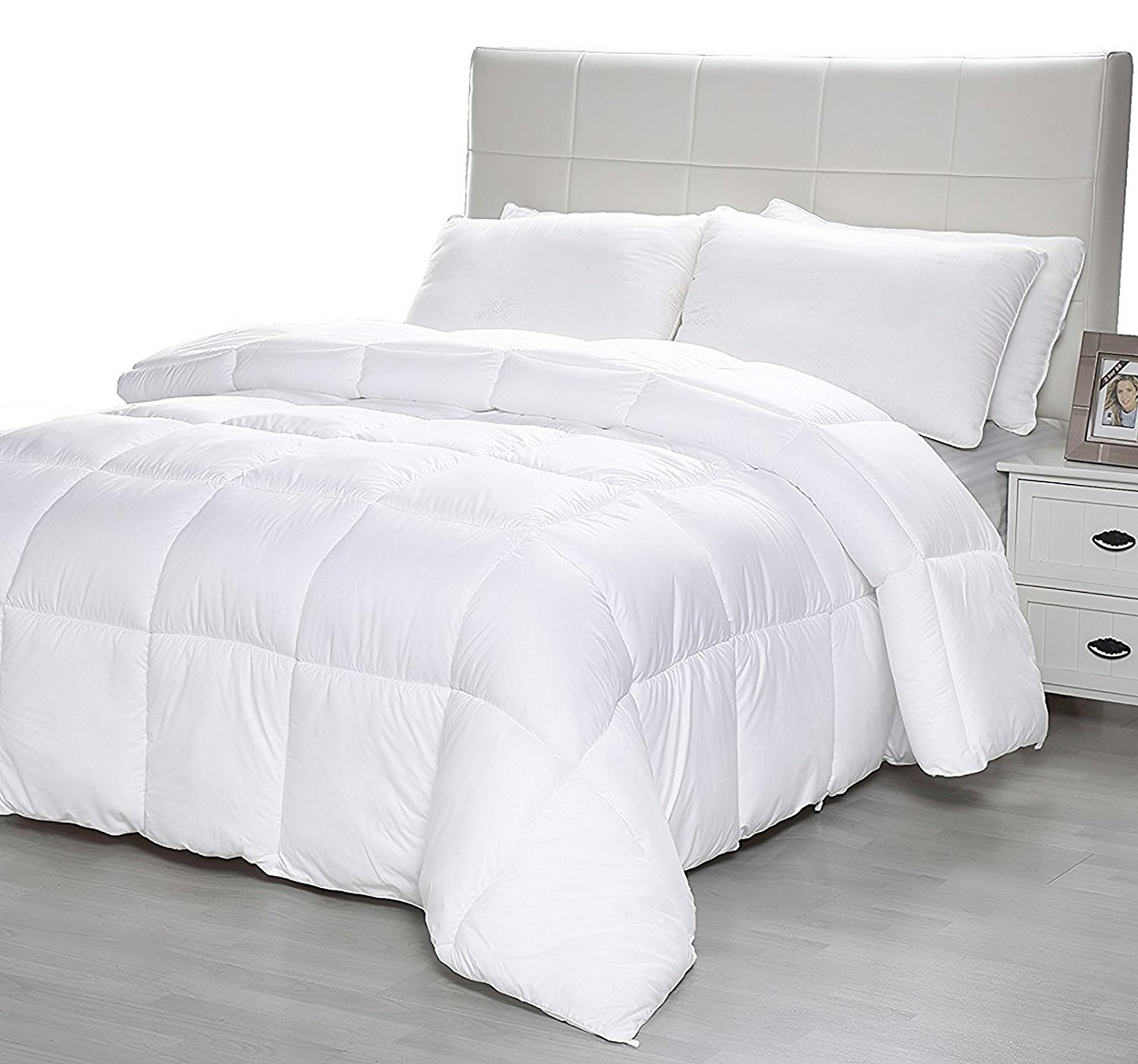 Equinox All-Season White Quilted Comforter - Goose Down Alternative Queen Comforter