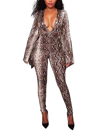 7723cddb58e021 Damen Jumpsuit Herbst Elegant Women Lang Festlich Overall One Piece  Schlange-Muster Drucken Vintage Langarm