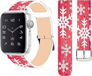 Strap Compatible for Apple Watch Series SE/6/5/4/3/2/1 38mm/40mm Christmas - ENDIY Designer Leather Fashionable Band Replacement for Iwatch Vintage Pink Present Christmas