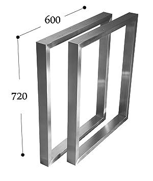 CHYRKA Estructura para tableros de Mesa Diseño pie de Mesa Acero Inoxidable 201 40x20, Comedor Mesa Estructura Pata (720x600 mm - 1 par)