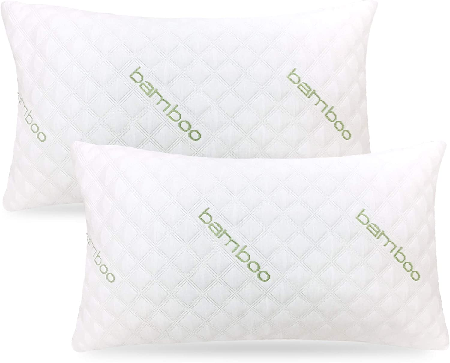 ik Bamboo Pillow (2-Pack) - Premium Pillows for Sleeping - Shredded Memory Foam Pillow with Washable Pillow Cover - Adjustable Loft - (King)
