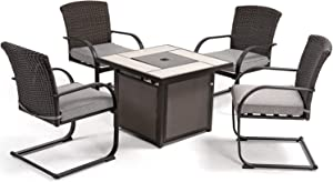 Grand patio 5 PCS Outdoor Fire Pit Conversation Set, Spring Motion Wicker Chairs with 32 Inch Propane Gas Square Fire Pit Table