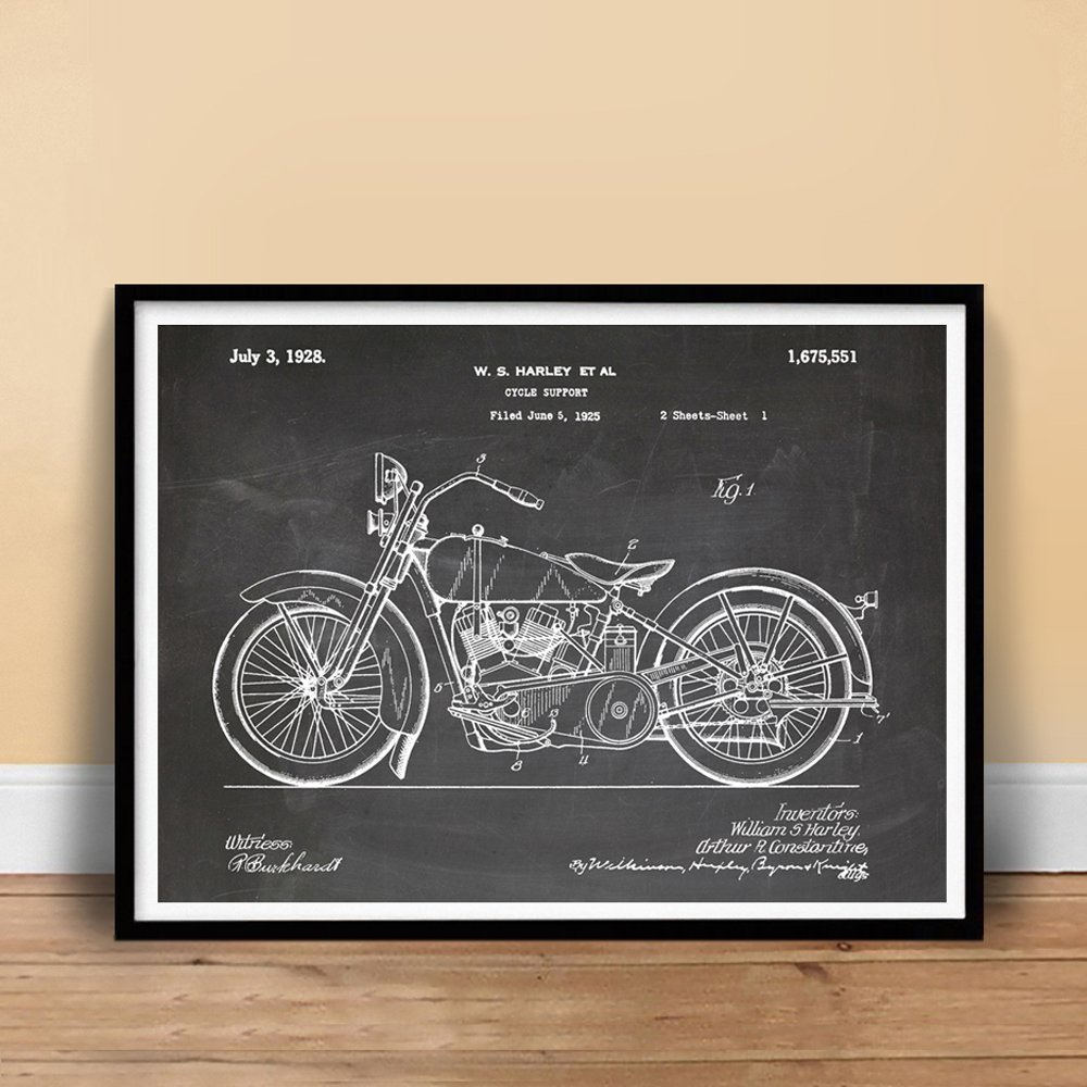 Uncategorized Motorcycle Pictures To Print amazon com harley davidson motorcycle poster 1928 patent art handmade gallery print blackboard unframed 18 x 24 po