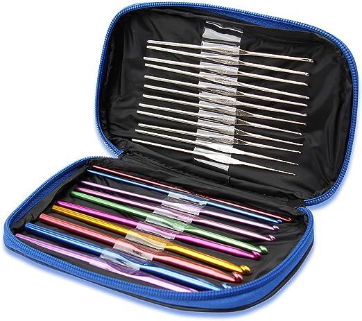 22 Piezas Juego Kit de Agujas de Ganchillo Estuche Conjunto de Crochet de Aluminio Accesorios para Tejer Costura Artesanía Colores: Amazon.es: Hogar