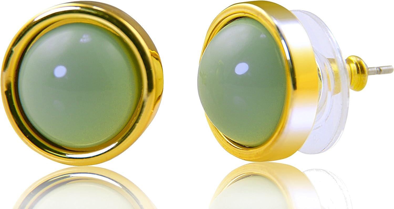 PAPOLY, Pendientes Antialérgico 0.43in/11mm con cierre muy estable de silicona baño ORO 18K varios colores con estuche de regalo