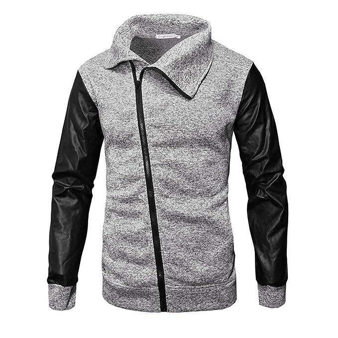 Yanhoo Cremallera Casual de suéter de Color sólido para Hombres con Capucha Casual otoño Invierno Cremallera de Cuero Patchwork Outwear Tops Blusa de la ...